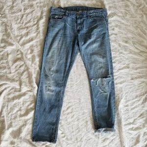 Low Rise Distressed Boot Cut Jeans